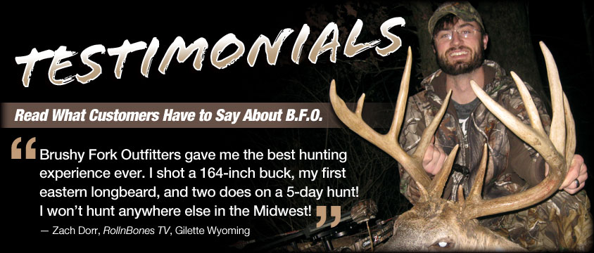 Testimonials from clients of BFO Ohio hunting outfitters
